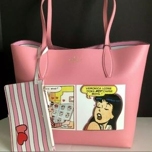 Archie comics Kate spade reversible pink tote NWT